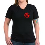 Anarchy-Red Women's V-Neck Dark T-Shirt