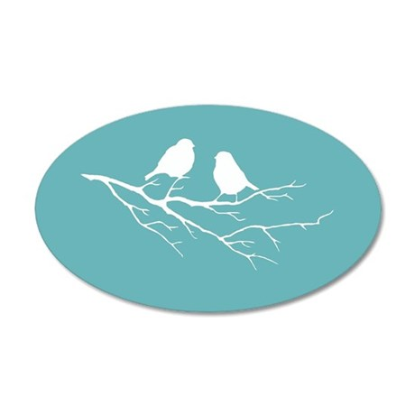 Two Little white Sparrow Birds Blue Shade Decal Wa