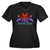 Karate Diva Women's Plus Size V-Neck Dark T-Shirt