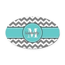 Gray and Turquoise Chevron Custom Oval Car Magnet