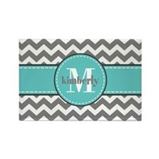 Gray and Turquoise Chevron Custom Rectangle Magnet