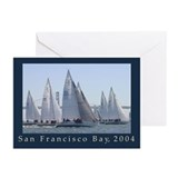 sf bay aerial sailing photo Greeting Cards (6)