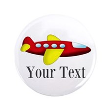 """Personalizable Red and Yellow Airplane 3.5"""" Button"""