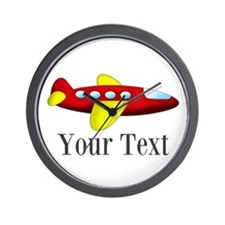 Personalizable Red and Yellow Airplane Wall Clock
