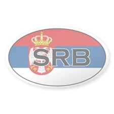 Serbian flag with text Oval Decal