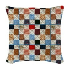 Colorful quilt pattern Woven Throw Pillow