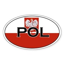 Polish flag sith text Oval Decal