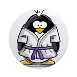 Martial Arts purple belt peng Ornament (Round)