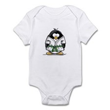 Martial Arts green belt pengu Infant Bodysuit