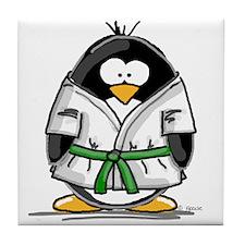 Martial Arts green belt pengu Tile Coaster