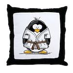 Martial Arts brown belt pengu Throw Pillow