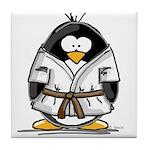 Martial Arts brown belt pengu Tile Coaster