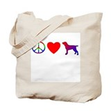 Peace, Love, Bracco Italiano Tote Bag