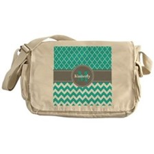 Gray and Blue Chevron Personalized Messenger Bag