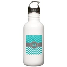 Gray and Blue Chevron Sports Water Bottle