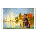Regatta / Red Doberman Sticker (Rectangle)