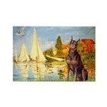 Regatta / Red Doberman Rectangle Magnet (10 pack)