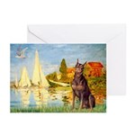 Regatta / Red Doberman Greeting Cards (Pk of 10)