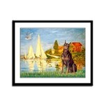 Regatta / Red Doberman Framed Panel Print