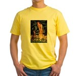 Fairies & Red Doberman Yellow T-Shirt
