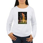 Fairies & Red Doberman Women's Long Sleeve T-Shirt
