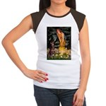 Fairies & Red Doberman Women's Cap Sleeve T-Shirt