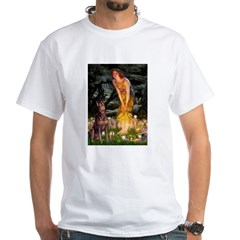 Fairies & Red Doberman White T-Shirt