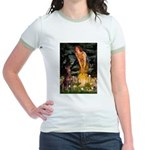 Fairies & Red Doberman Jr. Ringer T-Shirt