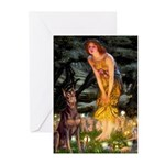 Fairies & Red Doberman Greeting Cards (Pk of 10)