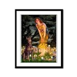Fairies & Red Doberman Framed Panel Print