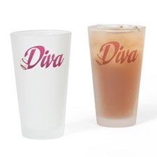 Baseball / Softball Diva Drinking Glass