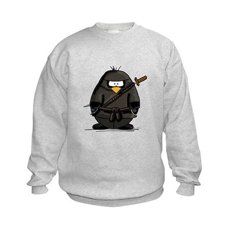 Martial Arts ninja penguin Kids Sweatshirt