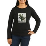 Coffee Botanical Print Women's Long Sleeve Dark T-