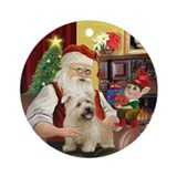 Santa &amp; his Glen of Imaal Terrier Ornament (Round)