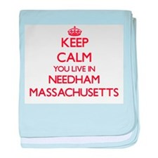 Keep calm you live in Needham Massach baby blanket