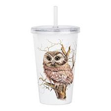 Cute Baby Saw Whet Owl Watercolor Bird Acrylic Dou