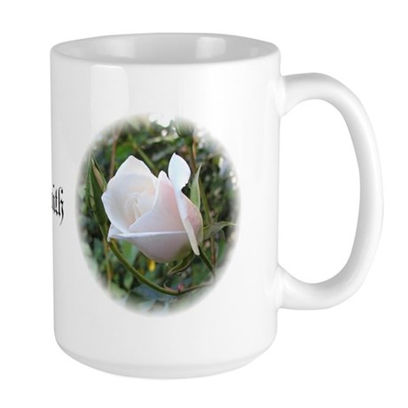 Large Mug - White Rose - Faith