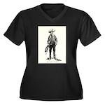 1920s Movie Cowboy Women's Plus Size V-Neck Dark T