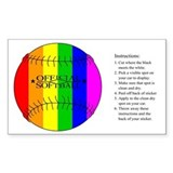 Softball Rainbow Rectangle Sticker