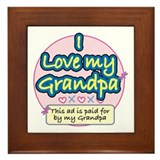 I Love My Grandpa - Pink Framed Tile