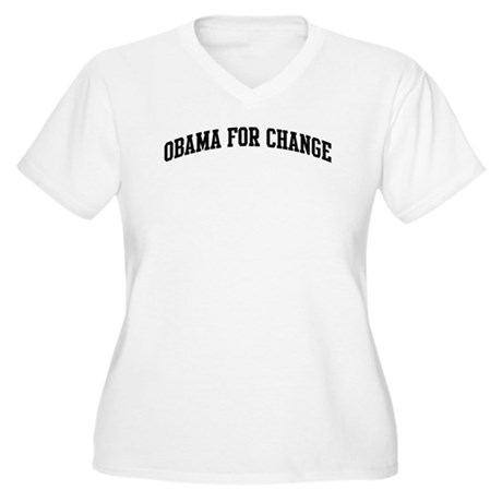 Obama for Change (sport-black Women's Plus Size V-