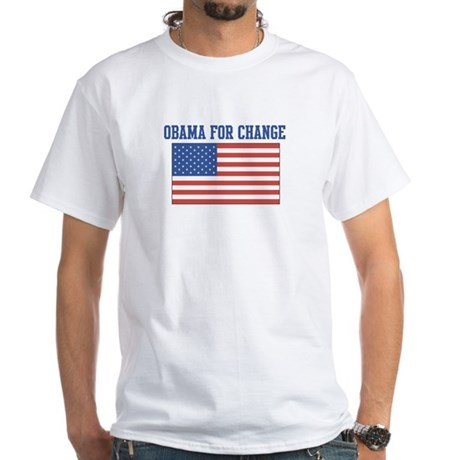 Obama for Change (American-Fl White T-Shirt