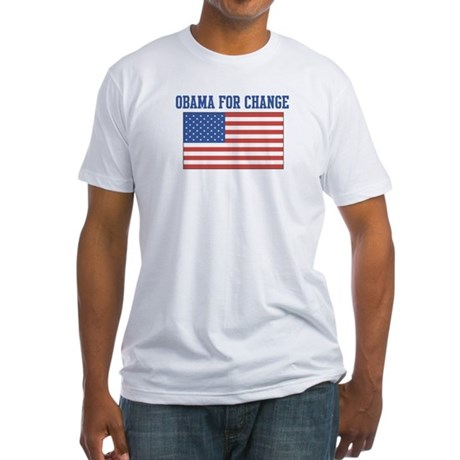 Obama for Change (American-Fl Fitted T-Shirt