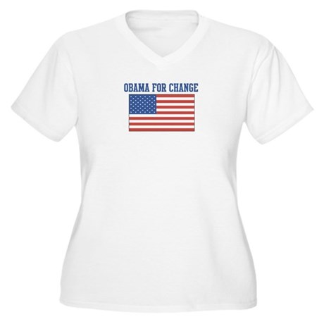 Obama for Change (American-Fl Women's Plus Size V-