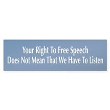 Right To Free Speech Blue Bumper Car Sticker