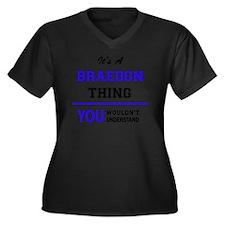 Unique Braedon Women's Plus Size V-Neck Dark T-Shirt