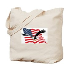 Bald Eagle and US Flag v2 Tote Bag