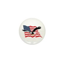 Bald Eagle and US Flag v2 Mini Button (100 pack)