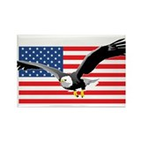 Bald Eagle and US Flag Rectangle Magnet (100 pack)