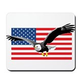 Bald Eagle and US Flag Mousepad